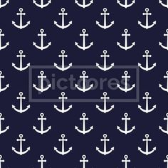 seamless pattern with white anchor over navy blue