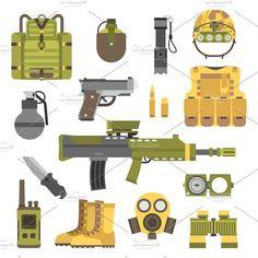 Weapon guns symbols vector Graphics Military weapon guns symbols vector illustration. Military armor guns set. Military weapon guns army by Vectorstockerland