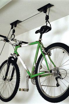 Not enough room for your bike? With this Ceiling Mount Bike Hoist, you can easily store your bike overhead.