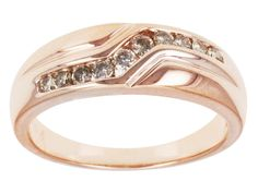.30ctw Round Champagne Diamond Engild(Tm) 14k Rose Gold Over Sterling Silver Gents Band