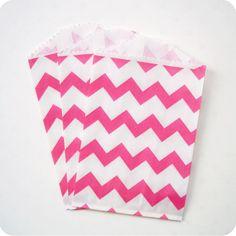 20 Pink Chevron Striped Small Favor Bags. $5.00, via Etsy.