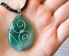 SALE  Wire Wrapped  Green Onyx Agate Pendant  Wire by lutita, $16.00