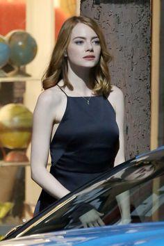 Emma Stone on the Set of La La Land in Hollywood 09/19/2015