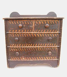 Circa 1870 19th Century Folk Art Paint Decorated Childs Chest New England Antique American Furniture.
