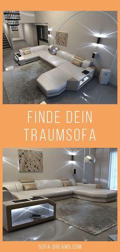Die perfekte Leder Wohnlandschaft  Presto in moderner U-Form ist ein wahrer Hingucker in jedem stilvollen Wohnzimmer. Das Luxus Sofa ist modern, stilvoll und gemütlich zugleich. Die Luxus Wohnlandschaft besticht durch das moderne Design und Bequemlichkeit. Finde dein Traumsofa und weitere Designer Möbel bei Sofa-Dreams! #Wohnlandschaft #Wohnzimmer #Sofa