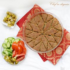 Baked kibbeh with step by step pictures on how to do the design on top