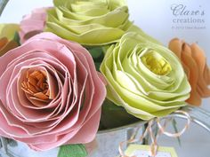 Shabby rolled spiral flower tutorial (lots of photos!) | Clare's creations