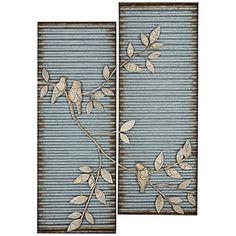 Cooper Classics 2-Piece Spring Birds Metal Wall Art