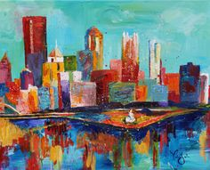 Pittsburgh Has My Heart    If your heart bleeds black and gold, this colorful print of the beautiful city skyline is the perfect way to