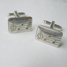 Music Notes Cuff Links - Silver Plated - Musical Scale - Sheet Music - Treble - Notes - Conductor - Orchestra - SILVER Cufflinks