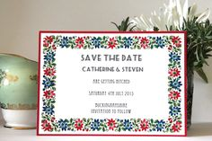 Floral Garland Wedding Save the Date Cards by KitchCards on Etsy