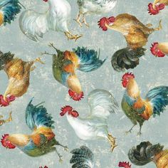 Wilmington Prints Early To Rise by Danhui Nai Grey Roosters Allover | Fabric