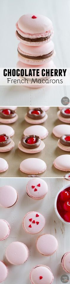 Chocolate Cherry French Macarons French macarons, made using the Italian Meringue Method, are filled with a chocolate buttercream and a maraschino cherry. These chocolate cherry French Macarons are the perfect way to jazz up a chocolate covered cherry! Chocolate Covered Cherries, Chocolate Cherry, French Chocolate, Baking Recipes, Cookie Recipes, Dessert Recipes, Baking Desserts, Frosting Recipes, Yummy Treats