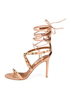 S0C3J Valentino Rockstud Crisscross Ankle-Wrap Sandal, Skin Sorbet