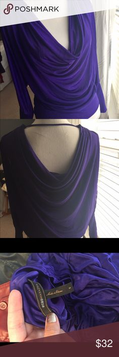 🍁SALE🍁 BCBG MaxAzria Top BCBG MaxAzria top. Silky dressy purple top , very flattering. Has almost full arm cutouts with front draped and back draped. BCBGMaxAzria Tops Blouses