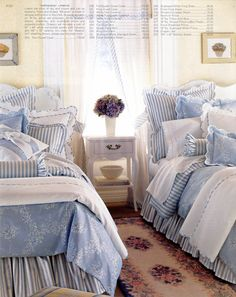 Pale white & blue cottage bedding! Just love the blending of colors and stripes and patterns. Doesn't have to be in blue can change the colors