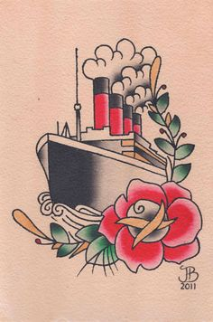 I fucking love this traditional style Titanic tattoo. Def need something similar on my thigh.