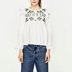 Womens Ladies Floral Embroidered Long Sleeve White Blouse Tops Shirt