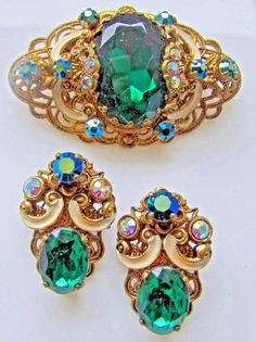 Vtg Brooch & Clip On  Earrings Emerald Green  Rhinestones Vintage German Set
