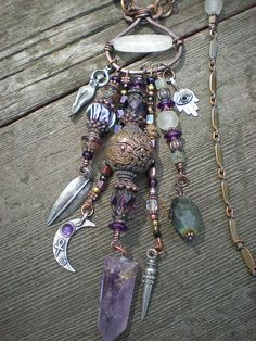 Maggie Zee Goddess Protective Amulet Necklace :: Details Amethyst White Jade Labradorite Fluorite Vintage Glass Copper Beads and Silver Charms :: Etsy Shop: Maggiezees Pandora Jewelry, Wire Jewelry, Boho Jewelry, Jewelry Crafts, Jewelry Art, Beaded Jewelry, Jewelery, Handmade Jewelry, Jewelry Necklaces
