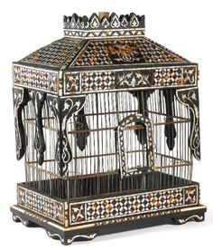 A mother-of-pearl, tortoiseshell, and ivory-inlaid birdcage, Turkey, late 19th century
