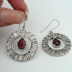 Sterling silver and garnets