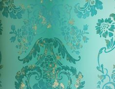 Perfect for a statement wall in my dream bedroom. Kashgar Wallpaper A traditional damask shaded wallpaper in jade with a contemporary metallic detail. #Designersguild and #dreambedroom
