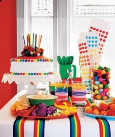 Rainbow Theme: Children's party spread with rainbow colored food and treat assortment Rainbow Parties, Rainbow Birthday Party, Rainbow Theme, 1st Birthday Parties, Birthday Ideas, Rainbow Candy, Rainbow Food, Rainbow Ribbon, Birthday Candy