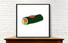 Modern sushi sushi wall art fish art prints by MyDaisyDownloads