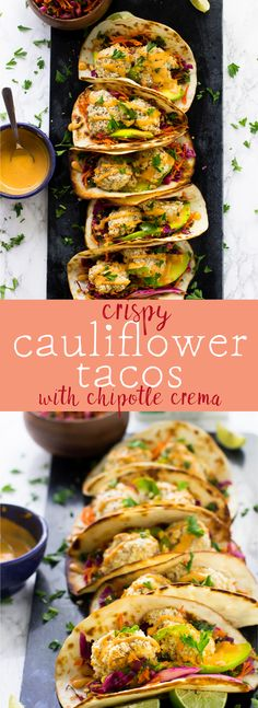 These Crispy Cauliflower Tacos with Chipotle Crema are packed with so much flavour! They are served with a kale cabbage slaw for an irresistible taco dish! via http://jessicainthekitchen.com