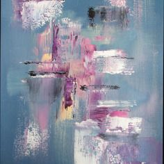 Peinture moderne acrylique rose  violet blanc noir bleu  sur papier grain toilé  29.7 x 42 cm