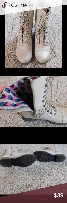 🆕 Pink & Pepper boots Jr. Conquer distressed Pink & Pepper boots. Light natural/tan color with worn looking distress scuffs. Studs on the side, lace front, and zipper on inner side. Fun pink and blue interior.  1 inch heel. Worn very little, soles still have plenty of life left. All man made materials. No trades. pink & pepper Shoes Combat & Moto Boots
