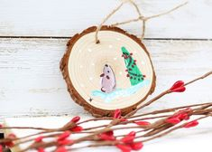 WOOD ORNAMENT Brown Bear Christmas Tree Acrylic Painting | Etsy Christmas Gifts, Christmas Tree, Christmas Ornaments, Original Paintings, Original Art, Chicken Painting, Be Natural, Wood Ornaments, Pinwheels