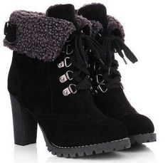 2015 New Arrival Big Size Women Thick Heel Ankle Boots Heels Lace Up Short Boots Short Ankle Boots, Lace Up Ankle Boots, Heeled Boots, Suede Boots, Suede Leather, Leather Boots, Ugg Boots, Black Suede, Black Leather