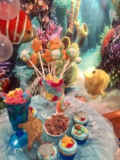 How much fun are the cake pops at this Under the Sea Birthday Party?! See more party ideas and share yours at CatchMyParty.com #catchmyparty #cakepops #underthesea