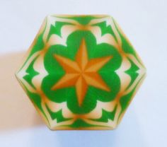 LARGE Green Gold and Cream Hexagon Polymer Clay Cane by ClaybyKerm, $10.00