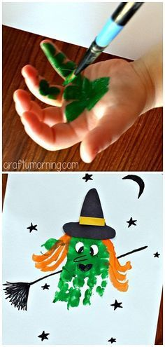 Handprint Witch Craft #Halloween craft for kids to make! | CraftyMorning.com