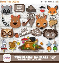 50% OFF WOODLAND ANIMALS Photo Booth Masks and Party Props, Printable Animal Party, Woodland Birthday, Baby Shower, Wedding Shower, Diy Prop by FlairGraphicDesign on Etsy https://www.etsy.com/listing/241279863/50-off-woodland-animals-photo-booth