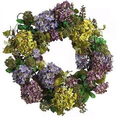 """Blue & Lavender Hydrangea Wreath -Door Wreath WR4514 by Floral Home Decor. $75.00. easter wreaths. Seasonal Wreaths. Silk Floral Wreaths. Door Wreaths. Artificial Silk Wreaths. Adorn your home with one of our most popular wreaths which can used year round. Lush Hydrangeas in gorgeous realistic colors of blue, green and purple/lavender are arranged with berries and foliage to make up this wonderful front door wreath. Hydrangea front door wreath is 24"""" wide  Silk F..."""