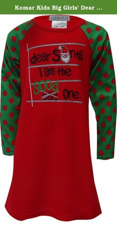 Komar Kids Big Girls' Dear Santa Holiday Night Gown, Red, X-Small. Girls nightgown - long sleeve.