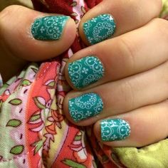 Teal green lace manicure using Whisper and Athens wraps from Jamberry