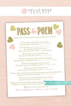 Pass the Poem Baby Shower Printable Game . Pink and Gold Hearts Girl . Fun Icebreaker Game for Large Groups Baby Shower Prizes, Baby Shower Fun, Bridal Shower Games, Girl Shower, Baby Shower Favors, Baby Shower Themes, Baby Shower Decorations, Shower Ideas, Fun Icebreaker Games