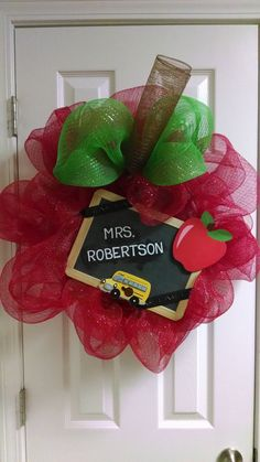 Teacher's apple wreath on Etsy, $40.00