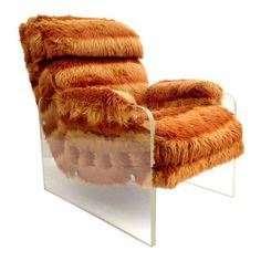 Image of Vintage Mid-Century Space Age Faux Fur Lucite Lounge Chair