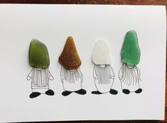 SEA GLASS CARD- GNOMES