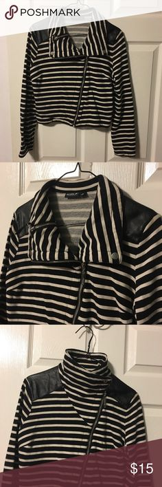 Allen B Moro jacket Black & white striped knit moto jacket, with leather accents on shoulders, adjust strap on back, full zip with small zipper pocket inside collar. Excellent condition. Allen B. By Allen Schwartz Jackets & Coats