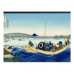 Hokusai - Sunset across the Ryogoku Bridge Postcard - postcard post card postcards unique diy cyo customize personalize