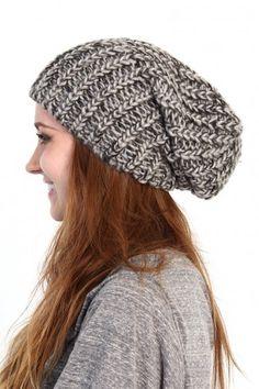 Slouchy Knit Beanie - Gray