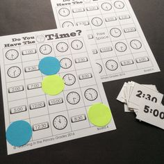 Fun bingo game to play to practice telling time to the hour and half-hour. $