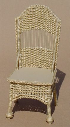 Side Chair - $55.00 : Miniature Wicker Furniture by The Petticoat Porch, Handcrafted artisan dollhouse miniature wicker furniture
